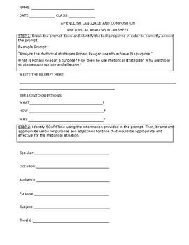 Rhetorical Analysis Worksheet For AP English Pre And Or