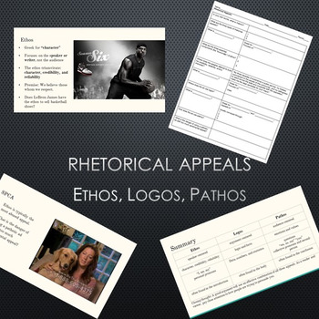 Rhetorical Appeals: Ethos, Logos, and Pathos PPT and Guided Notes