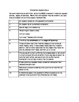 Rhetorical Appeals Quiz