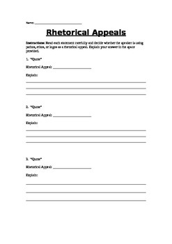 Rhetorical Appeals Worksheet