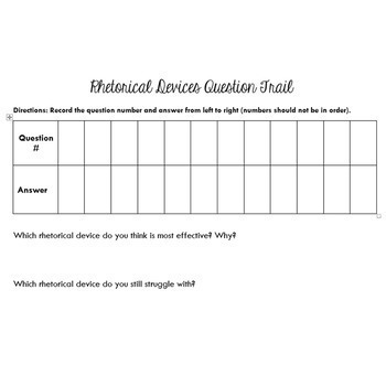 Rhetorical Appeals and Devices Question Trail