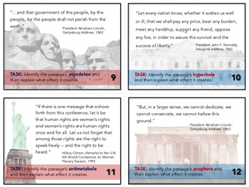 Rhetorical Devices in American Speeches Task Cards: Quizzes, Bell-Ringers