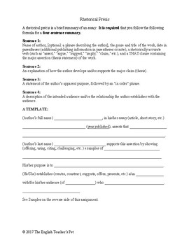 Rhetorical Precis Template | Rhetorical Precis Worksheet Keni Candlecomfortzone Com