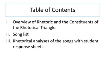 Rhetorical Songs: Analyze the Rhetoric in Famous Songs