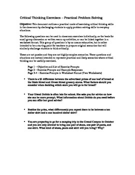Critical Thinking in Practical Situations Worksheets