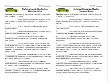 Rhetorical Triangle (Ethos, Logos, Pathos) Quick Worksheets & Assessment