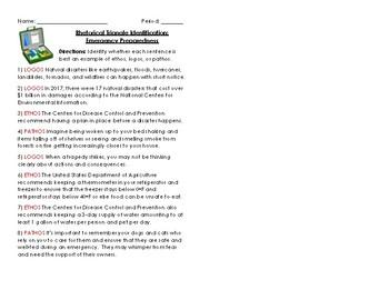 Rhetorical Triangle (Ethos, Logos, Pathos) Quick Worksheet: Emergency Prep.