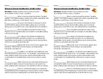 Rhetorical Triangle (Ethos, Logos, Pathos) Quick Worksheet: Healthy Eating