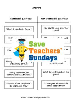 Rhetorical devices: Identifying rhetorical questions Worksheet