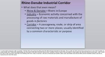 Rhine-Danube Industrial Corridor Presentation & Activity