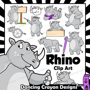 Rhino Clip Art with Signs