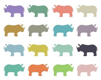 Rhino Clipart, Digital Clipart, Rhino Set #081