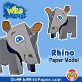 Rhino Craft Activity | 3D Paper Model Rhinoceros