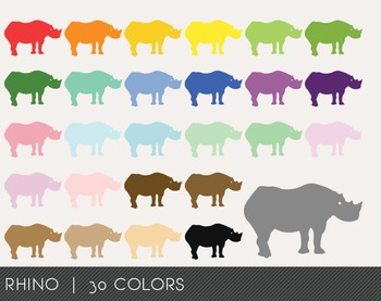 Rhino Digital Clipart, Rhino Graphics, Rhino PNG, Rainbow Rhino Digital Files