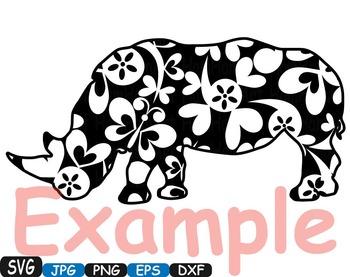 Rhino Safari SVG Silhouette school Clipart zoo circus flower floral 364S