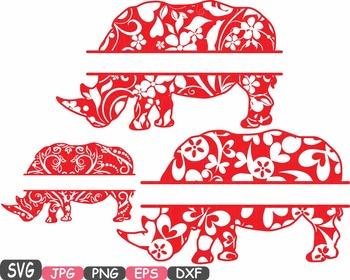 Rhino Split Frames Jungle Animal Safari Flower SVG school Clipart zoo -401s