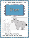 "Rhino and Letter ""R"" Crafts plus Letter Tracing Pages"