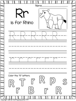"""Rhino and Letter """"R"""" Crafts plus Letter Tracing Pages"""
