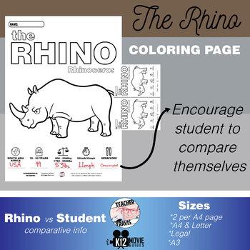 Rhinoceros Animal Coloring Book Activity