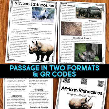 Rhinoceros: Informational Article, QR Code Research Page & Fact Sort