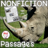 Rhinos Guided Reading Comprehension & Fluency Passages AFRICAN ANIMALS