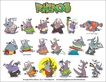 Rhinos cartoon Clipart