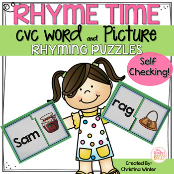 Rhyming CVC Word Picture Puzzles {Self-checking}