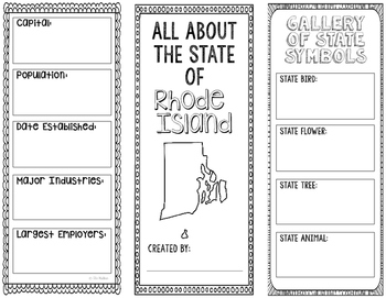Rhode Island - State Research Project - Interactive Notebook - Mini Book