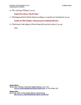Rhode Island Article (Reading Level 1) Comprehension Worksheet
