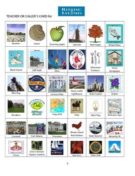 Rhode Island Bingo:  State Symbols and Popular Sites