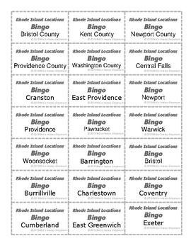 Rhode Island Location BINGO Game