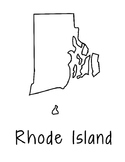 Rhode Island Map Coloring Page Craft - Lots of Room for Note-Taking