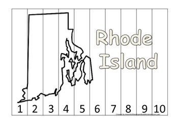 Rhode Island Number Sequence Puzzle.  Learn the States preschool printable game.