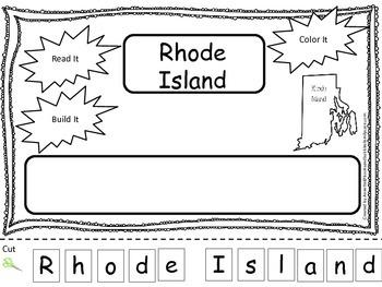 Rhode Island Read it, Build it, Color it Learn the States preschool worksheet.