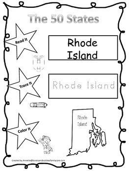 Rhode Island Read it, Trace it, Color it Learn the States preschool worksheeet.