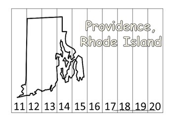 Rhode Island State Capitol Number Sequence Puzzle 11-20.  Geography and Numbers.