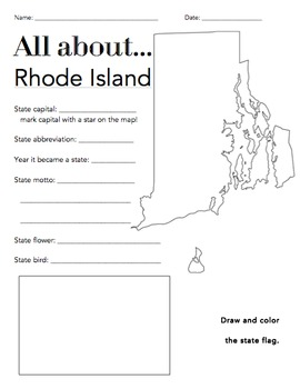 Rhode Island State Facts Worksheet: Elementary Version