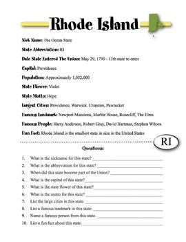 Rhode Island State Information & Worksheet