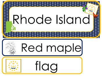 Rhode Island State Word Wall Bulletin Board Set. Geography Curriculum.