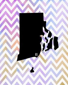 Rhode Island Chevron State Map Class Decor, Classroom Decoration