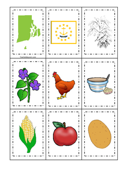 Rhode Island themed Memory Matching and Word Matching preschool curriculum  game