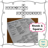 Rhombi and Squares Geometry Proofs Crossword Puzzle