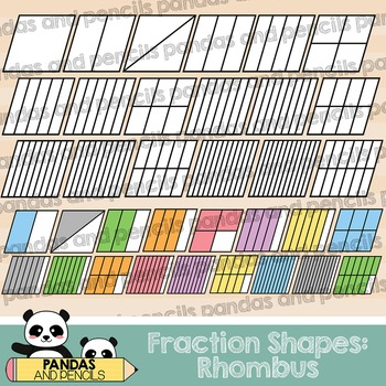 Rhombus Fractions Clip Art (Thick Lines)