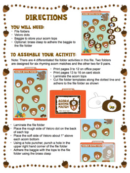 Rhyme - Acorn Themed File Folder Activity