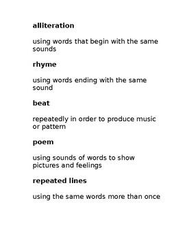 Rhyme, Alliteration, Plot, Poem Vocabulary Matching