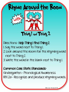 Rhyme Around the Room with Thing One and Thing Two! - Contact Me for Revised PDF