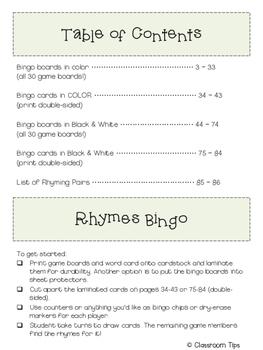 Rhyme Bingo (COLOR & BW)