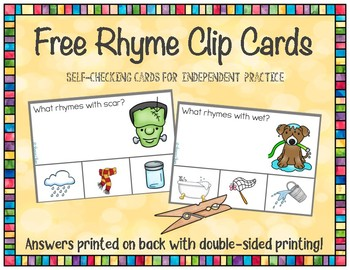 Rhyme Clip Cards - Free Sample