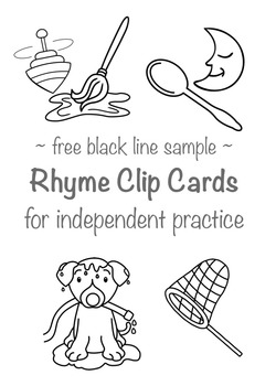 Rhyme Clip Cards - Free Sample - Black line