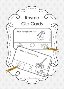 Rhyme Clip Cards - black line